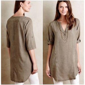 Cloth & Stone Taupe Tencel V-Neck Tunic Dress